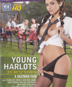 Young harlots in detention cover face
